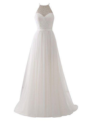 Erosebridal Ärmellos Spitze Chiffon Hochzeitskleid Brautkleid