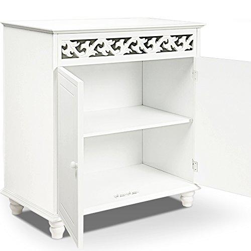 Deuba Kommode weiß »Jersey« mit 2 Türen im Landhaus Stil, Einlegeboden, 76 x 65 x 35cm - Sideboard Schrank Anrichte Mehrzweckschrank Holz Antik
