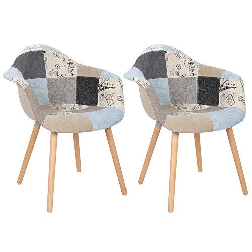 WOLTU BH37pgw-2 Esszimmerstühle 2er Set Esszimmerstuhl mit Lehne Design Stuhl Küchenstuhl Leinen Holz Patchwork Grau