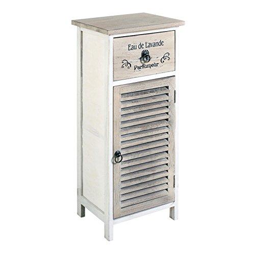 Rebecca Mobili Nachttisch Kommode 1 Tür 1 Schublade Holz Weiß Beige Vintage Badezimmer (Cod. RE4594)