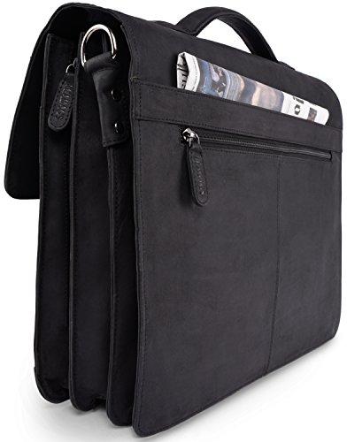 LEABAGS Miami Aktentasche Laptoptasche 15 Zoll Schultertasche aus echtem Leder - Schwarz