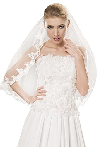 Braut-Schleier Hochzeit Schleier fur die Braut, handgeschmuckt mit Spitzenborte, Perlen, Breite 150cm, Lange 80cm