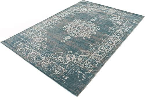 LIFA LIVING Vintage Teppich | im schönen Vintage Muster | für Wohnzimmer und Schlafzimmer | Farb und Größen Variationen | (Grau/Blau, 160 x 230 cm)
