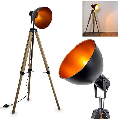 Stehlampe Egmont, Vintage Stehleuchte aus Holz mit Lampenschirm in Schwarz aus Metall, E27-Fassung, max. 40 Watt, verstellbare Bodenleuchte im Retro-Design, auch geeignet für LED Leuchtmittel
