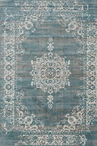 LIFA LIVING Vintage Teppich, im schönen Vintage Muster, für Wohnzimmer und Schlafzimmer, Farb und Größen Variationen, (Grau/Blau, 160 x 230 cm)