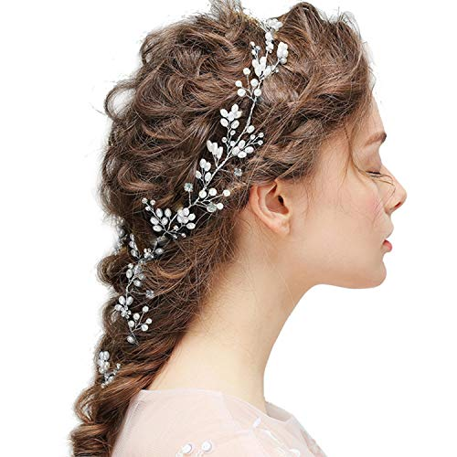 Braut Kopfschmuck Hochzeit Haarband und Stirnband mit Kristall Perle(100cm), Fashion Schön Style Glänzende Haarranke für Frauen und Mädchen (Silber) MEHRWEG
