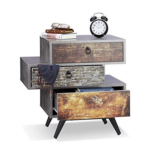 Relaxdays Vintage Kommode m. 3 Schubladen, Betonoptik Beistellschrank, Shabby Schublade m. Griff, HBT: 60x60x40 cm, grau