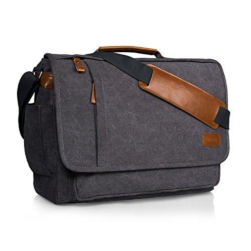 Estarer Umhängetasche/Laptoptasche 15.6 Zoll für Arbeit Uni aus Canvas Grau