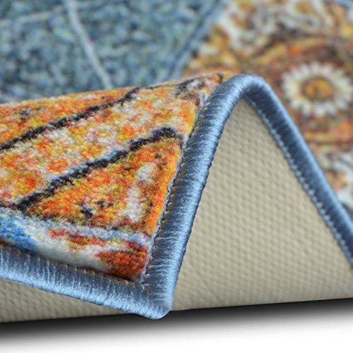 Teppichläufer Bonita | Patchwork Muster im Vintage Look | viele Größen | moderner Teppich Läufer für Flur, Küche, Schlafzimmer | Niederflor Flurläufer, Küchenläufer | Breite 80 cm x Länge 900 cm
