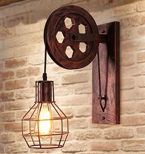 Wandleuchte E27 Vintage Wandlampe Retro Wandbeleuchtung Kreative Beleutung für Treppenhaus Flur Cafe Bar Restaurant Hotel (Rost Farbe)
