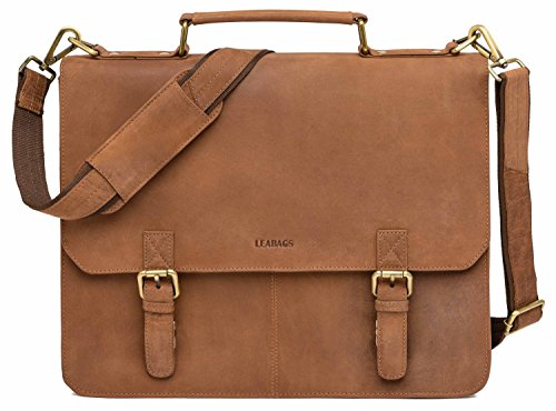 LEABAGS Gainsville Aktentasche Laptoptasche 15 Zoll Ledertasche im Vintage Look - Rouge