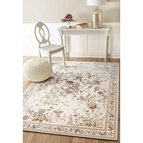 Taleta Moderner Kurzflor Teppich mit Blumenmuster Vintage Floral Bordüre Muster Mehrfahbig Beige, Größe: 240x340cm