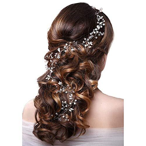 Skitic Strassbesatz Haarband und Stirnband mit Kristall, Fashion Schön Style Kopfschmuck Haarbänder Lange Glänzende Haarranke für Frauen und Mädchen (Silber)