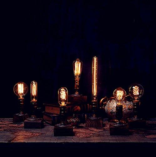 OYGROUP E27 Vintage Holzblöcke Tischlampe Schreibtisch Licht für Cafe Bar Studio Nachtlicht für Bedside