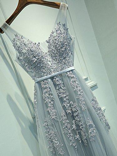 Babyonline Damen Rückenfrei Spitze Tüll Abendkleid Lang Ballkleid Hochzeit Brautjungfernkleid mit Träger