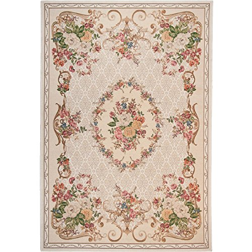 Taleta Moderner Kurzflor Aubusson Teppich Medaillon Blumenmuster Bordüre Beige, Größe: 240x340cm