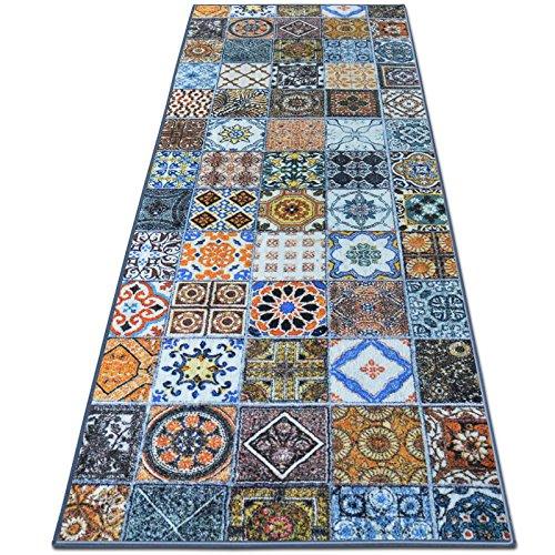 Teppichläufer Bonita | Patchwork Muster im Vintage Look | viele Größen | moderner Teppich Läufer für Flur, Küche, Schlafzimmer | Niederflor Flurläufer, Küchenläufer | Breite 80 cm x Länge 3000 cm