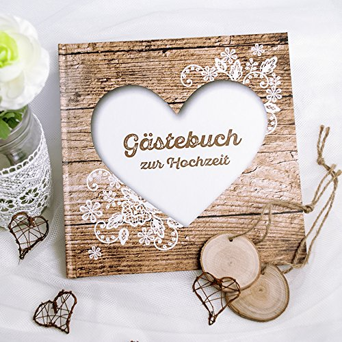 Weddix Gästebuch Hochzeit Herzenssache rustikal - Hochzeitsgästebuch in Holzoptik, Holz Look mit Herz und Spitze, 144 weiße Seiten, 21,5 x 21,5 cm