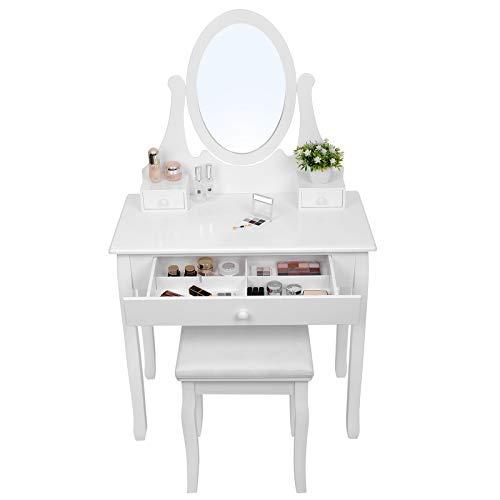 Songmics Schminktisch Frisierkommode mit Spiegel, Holz, weiß, 80 x 40 x 137 cm