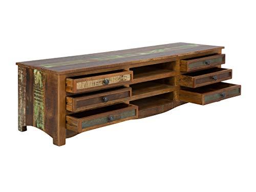 massivum TV-Schrank Cruzar 180x50x50 cm Recyceltes Holz bunt gewachst