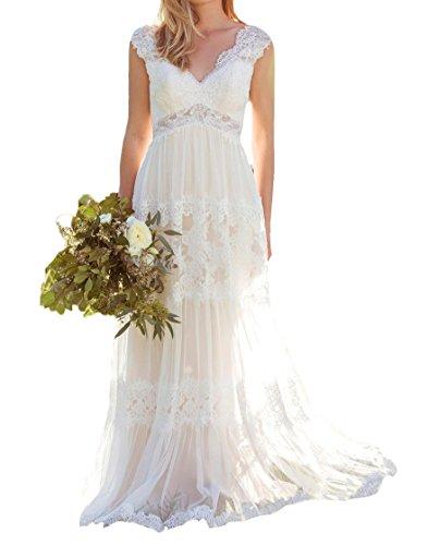 O.D.W Frauen Spitze Lange Rustikale Brautkleider Vintage Hochzeitskleider