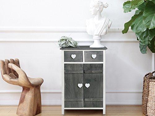 Rebecca Mobili Allzweckschrank Küchenschrank, Badschrank 2 Türen 2 Schubladen, Weiß Grau, Paulownienholz, Schlafzimmer Bad – Maße: 73 x 51 x 31 cm (HxLxB) - Art. RE4362