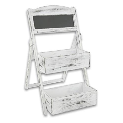 Holz Etagere oder Pflanztreppe mit Tafel Modell 'Chalet' in weiß gekalkt