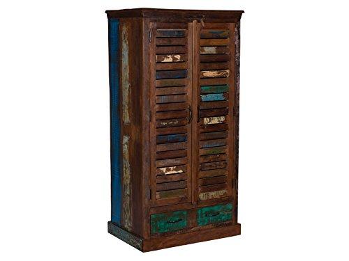 Woodkings Flurset, Akazie massiv, Flurmöbel Set Vintage, Spiegel, Sitzbank, Garderobe mit Haken Kleiderschrank aus der Wakefield Serie