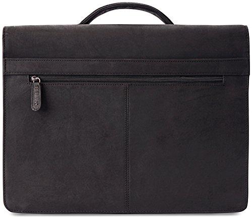 LEABAGS Miami Aktentasche Laptoptasche 15 Zoll Schultertasche aus echtem Leder, (LxBxH): ca. 40 x 12 x 31 cm - Schwarz