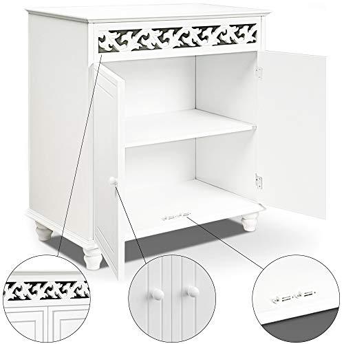 Kommode weiß Jersey mit 2 Türen Landhausstil Einlegeboden 76x65x35cm Sideboard Anrichte Schrank Holz Vintage Antik Wohnzimmer Schlafzimmer Bad