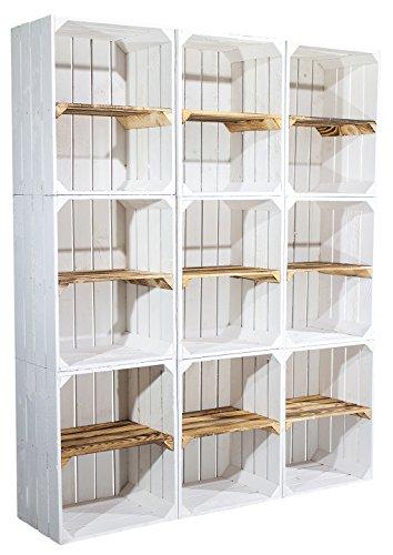 9er Set Weiße Regalkiste mit flambiertem Mittelbrett -Quer- Shabby Apfelkiste Obstkiste Kistenregal als Schuhkiste Schuhregal Oder Bücherregal 50x40x30cm