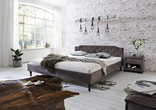 Atlantic Home Collection VILIA Bettgestell im Landhausstil, Vintage - Stoff, Braun, 180 x 200 cm