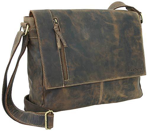 HAROLD'S Echt-Leder Messenger Bag große Schultertasche exclusive Umhängetasche auch crossover tragbar (Business Dunkel-Braun)