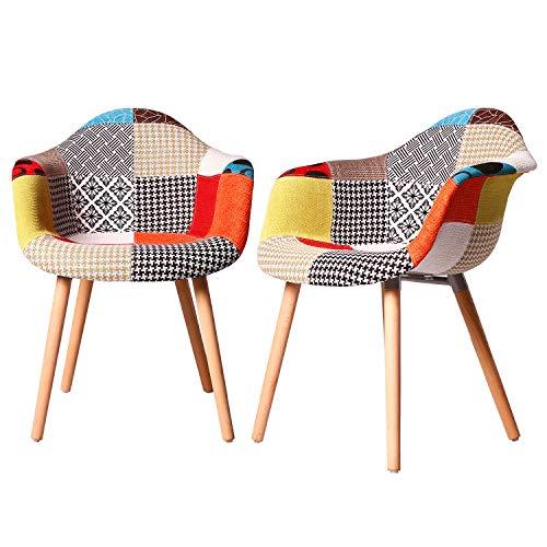 Elightry Esszimmerstühle 2er Set Esszimmerstuhl mit Lehne Design Stuhl Küchenstuhl Leinen Holz Patchwork Grau
