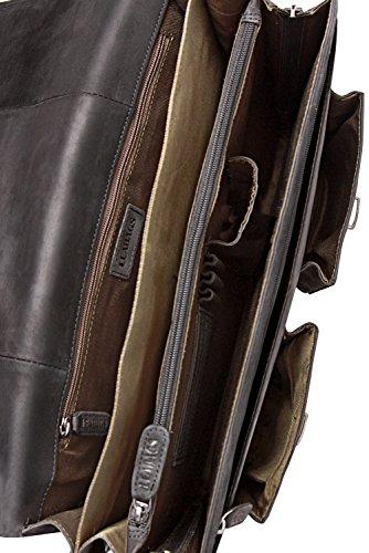 LEABAGS Miami Leder-Umhängetasche I Laptoptasche bis 15 Zoll I Messenger Bag aus echtem Büffel-Leder I Aktentasche I Vintage Ledertasche I Bürotasche I Arbeitstasche I 40x31x12cm (Schwarz)