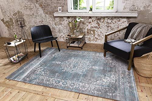 LIFA LIVING 160 x 230 cm Vintage Teppich für Wohnzimmer und Schlafzimmer, Wohnzimmerteppich mit Muster Orientalisch, Blau Grau, aus weicher Wolle