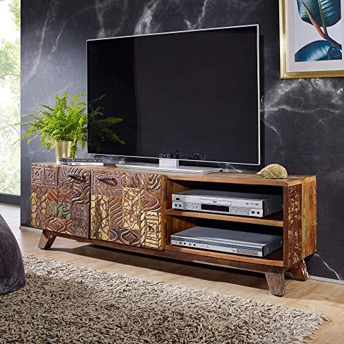 FineBuy Design HiFi Lowboard CARVA Massivholz Vintage TV Kommode 140 x 46 x 40cm | Fernsehschrank Unterschrank mit 2 Türen | Fernsehtisch Ablagefach | Fernsehkommode TV Möbel | TV-Board Wohnzimmer