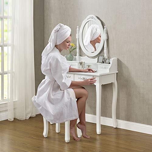 ArtLife Schminktisch Mira mit Spiegel, Hocker & 4 Schubladen weiß MDF Holz Frisiertisch für Mädchen und Damen Kosmetiktisch Landhausstil