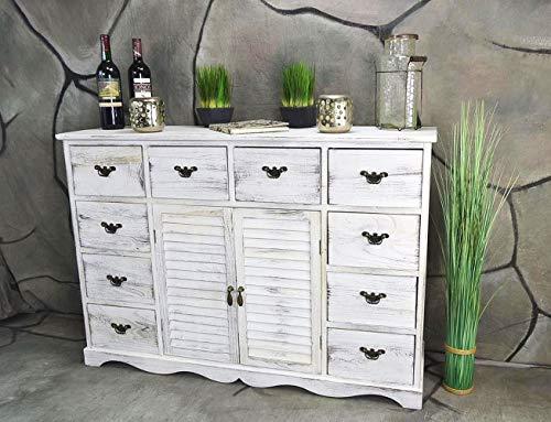 Livitat Kommode Sideboard 113 x 78 cm Anrichte Landhaus Shabby Chic Vintage Weiß LV1005