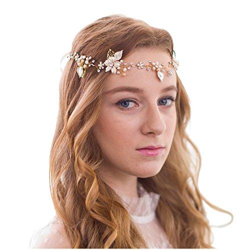 FAYBOX BRIDAL Vintage Perlen Strass Rebe Kopfstück Blume Blätter Haarbänder Haarschmuck Hochzeit