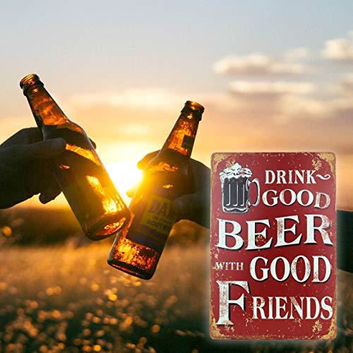 Blechschild Retro Bier Geschenk Metall-Schild mit Sprüchen Vintage lustige Türschilder Bier Schild Nostalgie Deko Bar-Schild Beer Motiv 20x30 cm