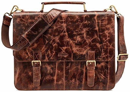 LEABAGS Gainsville Aktentasche Laptoptasche 15 Zoll Ledertasche im Vintage Look, (LxBxH): ca. 29 x 11 x 30 cm - Rouge