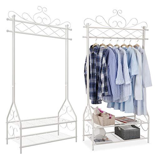 SONGMICS Kleiderständer im Vintage-Stil Garderobenständer mit Kleiderstange und 2 Ablagen aus Metall 92 x 173 x 41 cm (B x H x T), cremeweiß, HSR07W