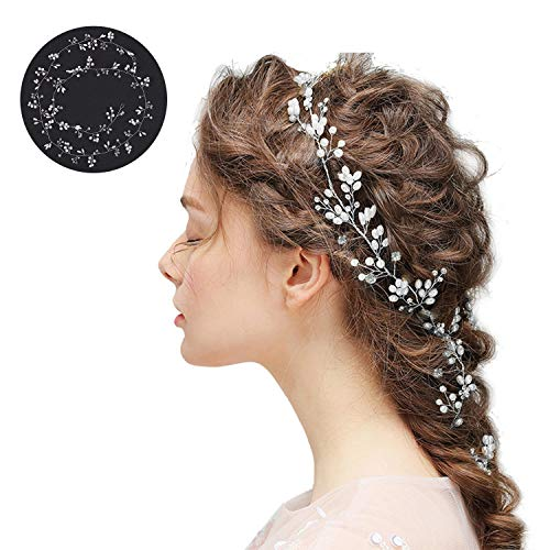 Braut Haardraht Kopfschmuck Haarschmuck Hochzeit Haarband und Stirnband mit Kristall Perle(100cm), Fashion Haarranke Schön Style Glänzende für Frauen und Mädchen (Silber) MEHRWEG