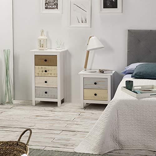 Magda Nachttisch Nachtschrank Kommode mit 2 Schubladen Weiß und mehrfarbige Schubladen, Massives Kiefernholz