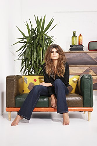 Kare Design Sofa Leaf 2-Sitzer, Loungecouch im Retro-Stil, Braun-Grün-Gelb (H/B/T) 72x130x69cm