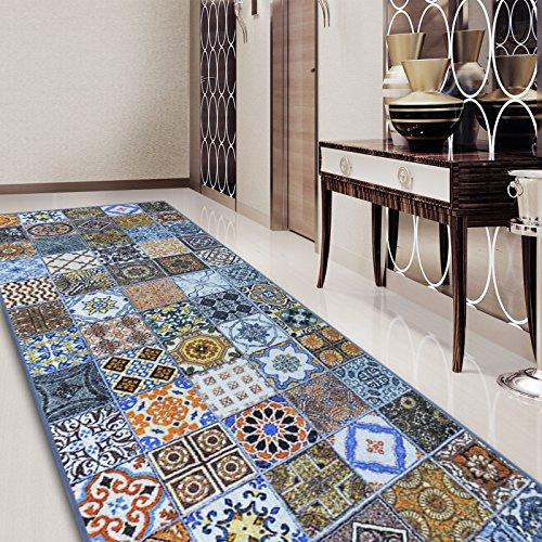 Teppichläufer Bonita   Patchwork Muster im Vintage Look   viele Größen   moderner Teppich Läufer für Flur, Küche, Schlafzimmer   Niederflor Flurläufer, Küchenläufer   Breite 80 cm x Länge 900 cm