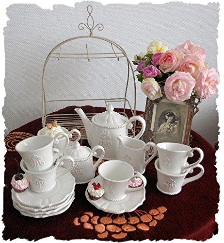 Kaffeeservice für 6 Personen Shabby Chic Krone Vintage Geschirr Weiss Palazzo Exclusive