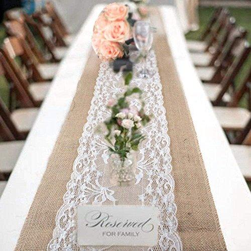 Snner Tischläufer im Vintage-Look, 30 x 275 cm, rustikal, Sackleinen, für Hochzeit, Feier, Party, Evendekorationen 1pack