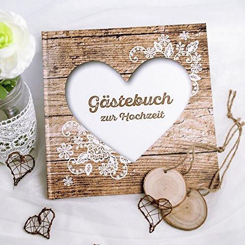 Gästebuch Hochzeit Herzenssache rustikal, Hochzeitsgästebuch Holz Optik, mit Herz und Spitze in Weiß, 144 weiße Seiten, 21,5 x 21,5 cm